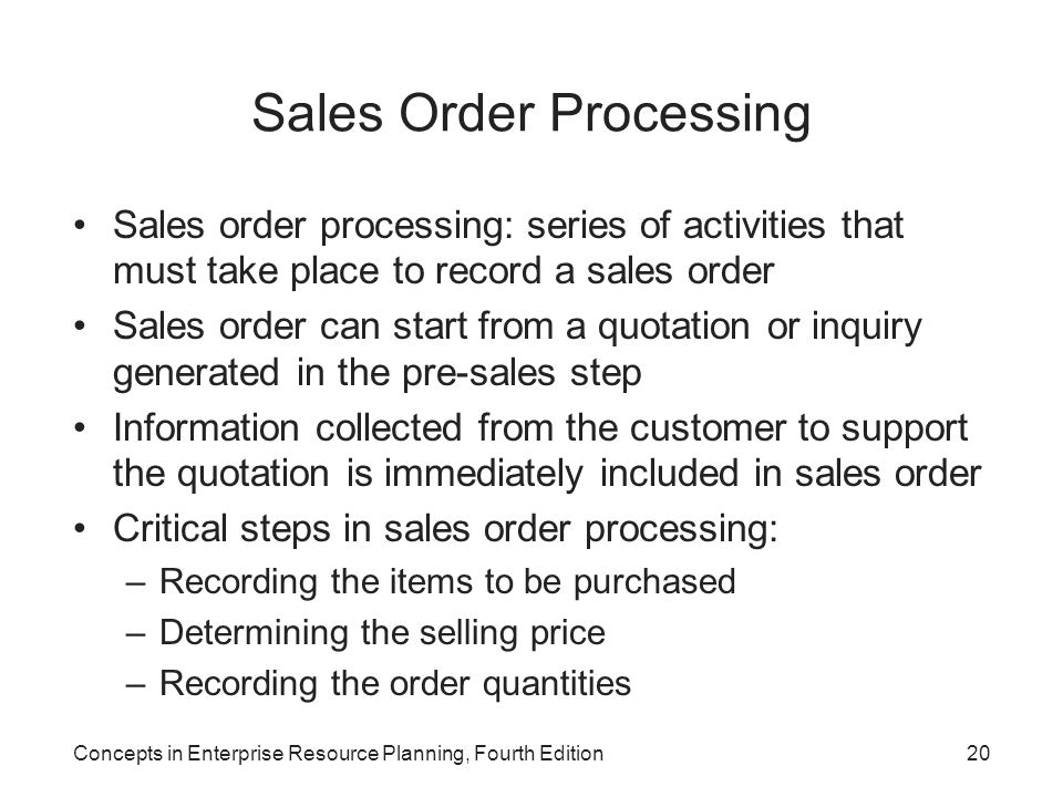 Concepts in Enterprise Resource Planning, Fourth Edition20 Sales Order Processing Sales order processing: series of activities that must take place to
