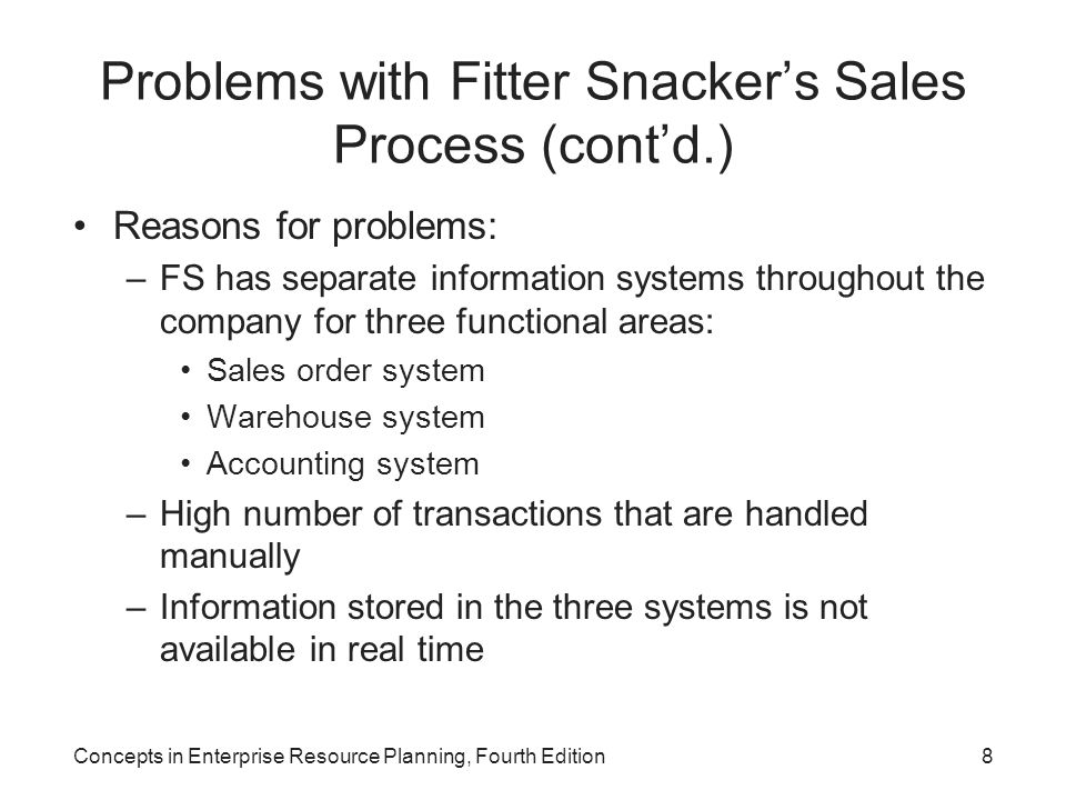 Concepts in Enterprise Resource Planning, Fourth Edition8 Problems with Fitter Snacker's Sales Process (cont'd.) Reasons for problems: –FS has separat