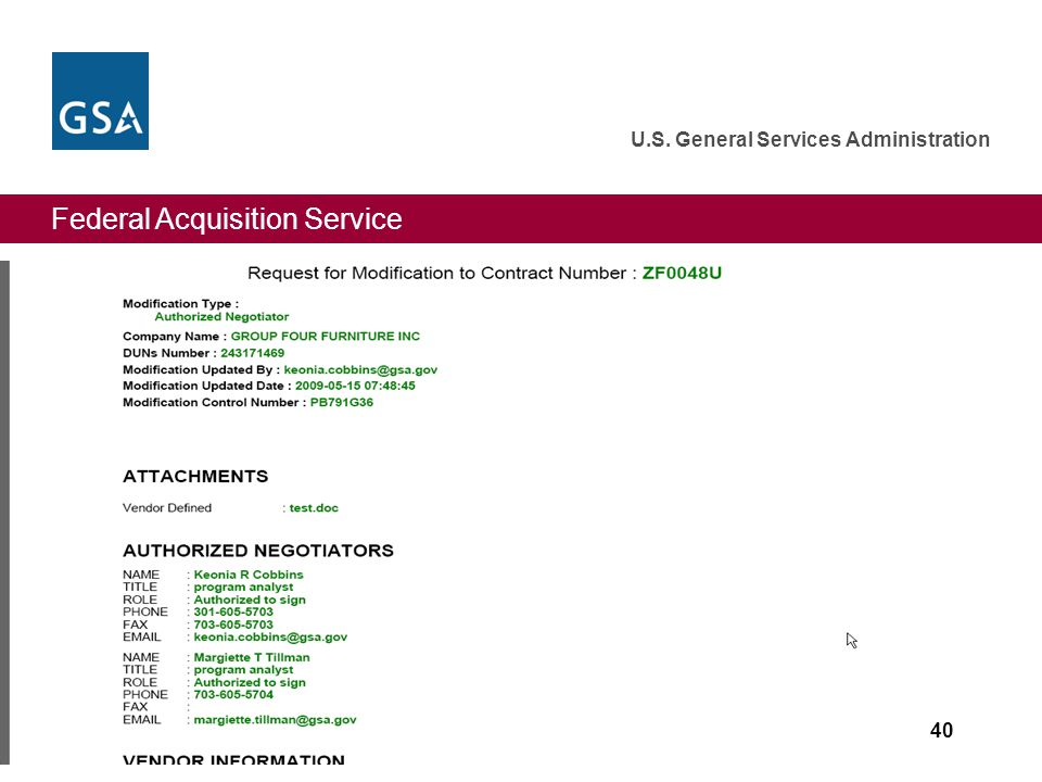Federal Acquisition Service U.S. General Services Administration 40