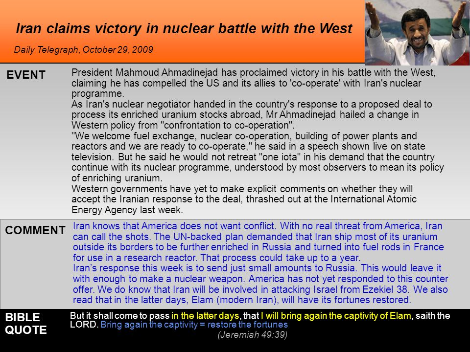 Iran claims victory in nuclear battle with the West Iran knows that America does not want conflict.