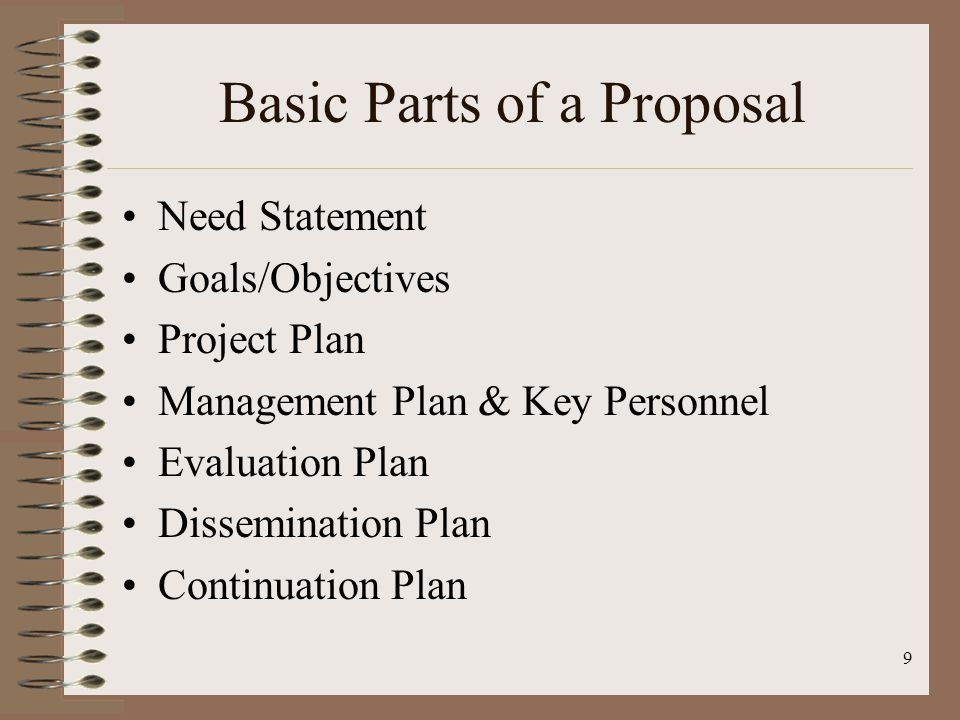 9 Basic Parts of a Proposal Need Statement Goals/Objectives Project Plan Management Plan & Key Personnel Evaluation Plan Dissemination Plan Continuation Plan