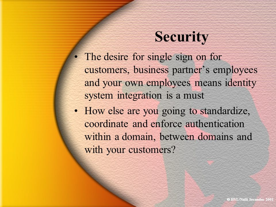  HVL/Nulli Secundus 2001 Security The desire for single sign on for customers, business partner's employees and your own employees means identity sys