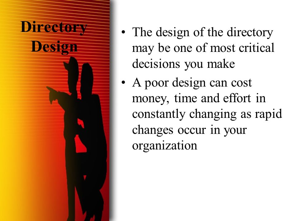  HVL/Nulli Secundus 2001 Directory Design The design of the directory may be one of most critical decisions you make A poor design can cost money, ti
