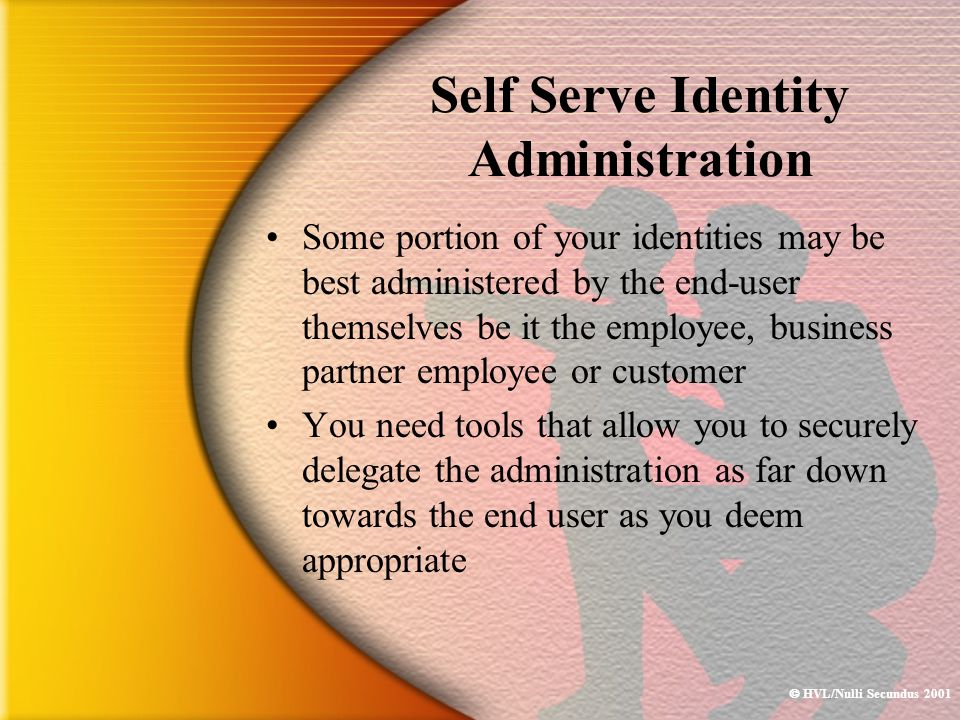  HVL/Nulli Secundus 2001 Self Serve Identity Administration Some portion of your identities may be best administered by the end-user themselves be it
