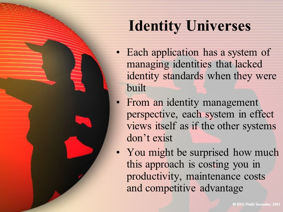  HVL/Nulli Secundus 2001 Identity Universes Each application has a system of managing identities that lacked identity standards when they were built