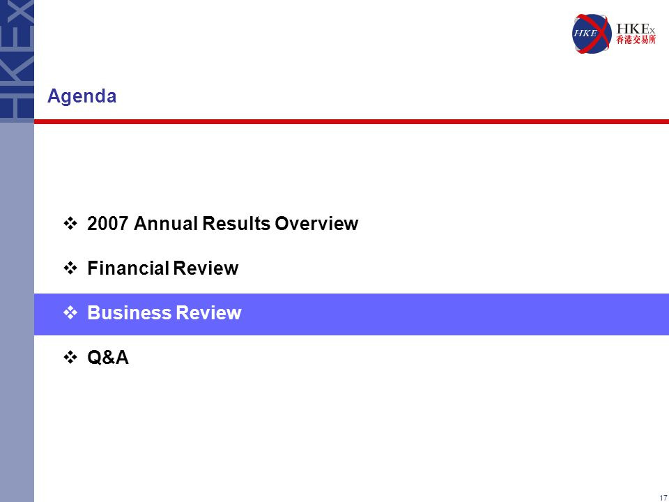 17 Agenda  2007 Annual Results Overview  Financial Review  Business Review  Q&A