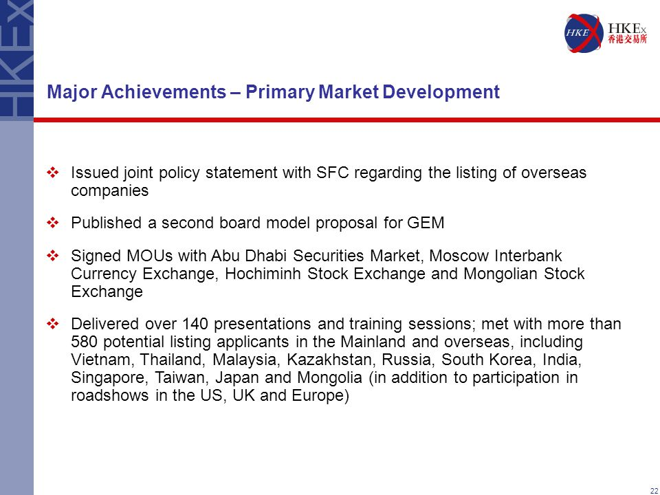 22 Major Achievements – Primary Market Development  Issued joint policy statement with SFC regarding the listing of overseas companies  Published a second board model proposal for GEM  Signed MOUs with Abu Dhabi Securities Market, Moscow Interbank Currency Exchange, Hochiminh Stock Exchange and Mongolian Stock Exchange  Delivered over 140 presentations and training sessions; met with more than 580 potential listing applicants in the Mainland and overseas, including Vietnam, Thailand, Malaysia, Kazakhstan, Russia, South Korea, India, Singapore, Taiwan, Japan and Mongolia (in addition to participation in roadshows in the US, UK and Europe)