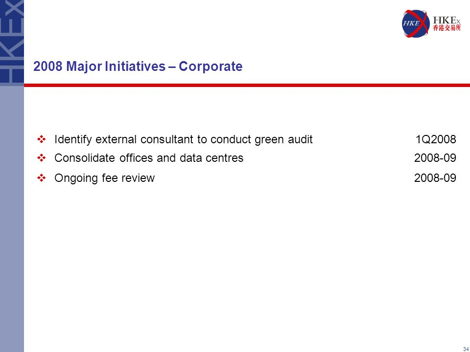 34 2008 Major Initiatives – Corporate  Identify external consultant to conduct green audit1Q2008  Consolidate offices and data centres2008-09  Ongoing fee review2008-09