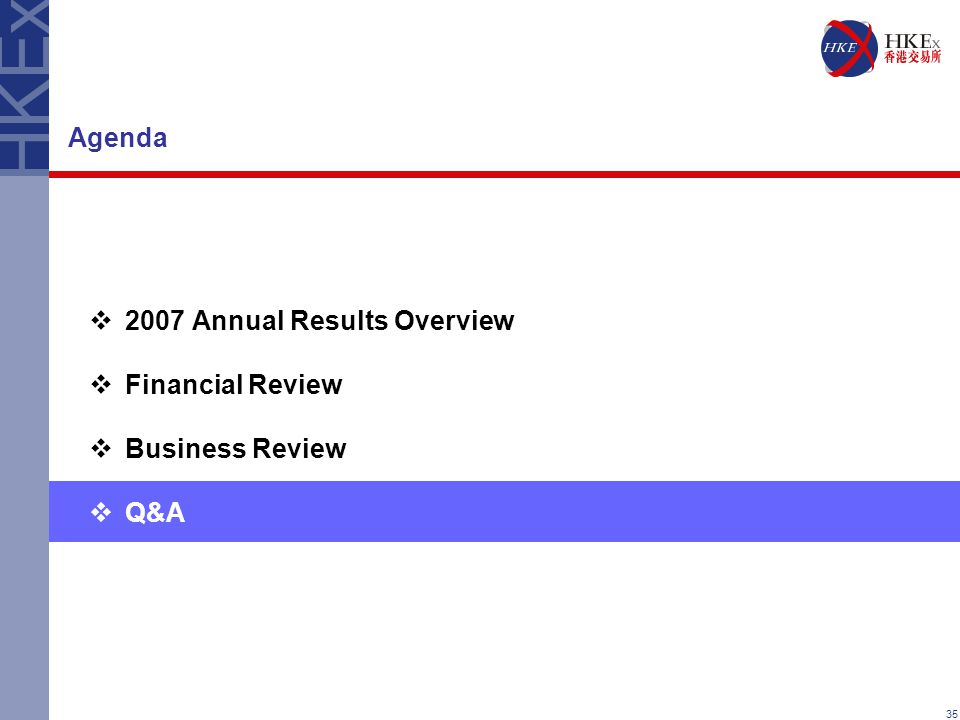 35 Agenda  2007 Annual Results Overview  Financial Review  Business Review  Q&A