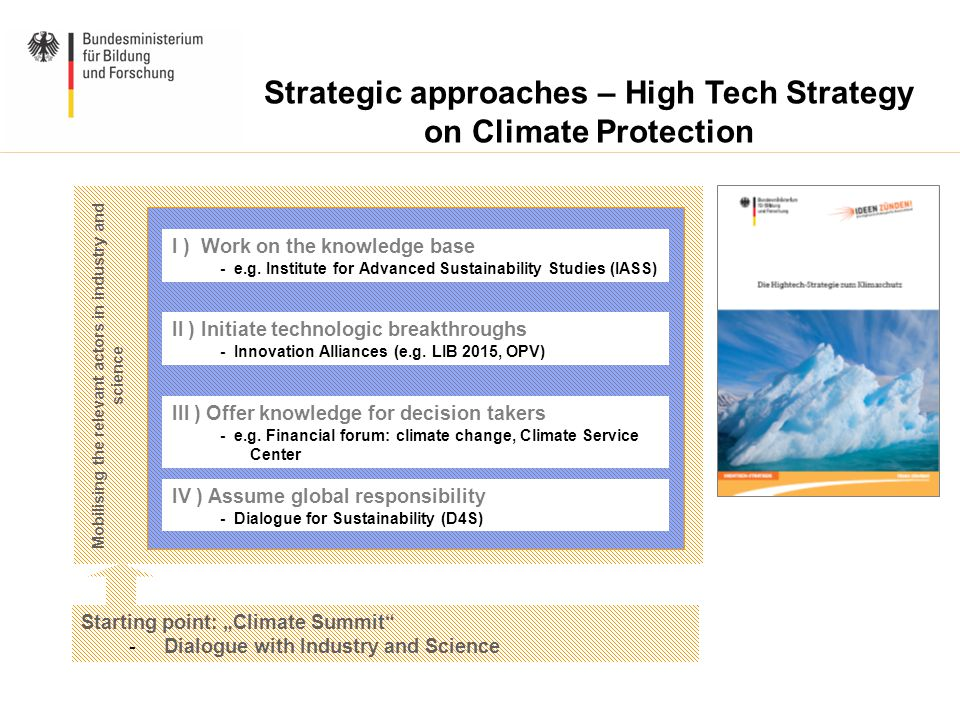 "Mobilising the relevant actors in industry and science Strategic approaches – High Tech Strategy on Climate Protection Starting point: ""Climate Summit - Dialogue with Industry and Science I ) Work on the knowledge base - e.g."