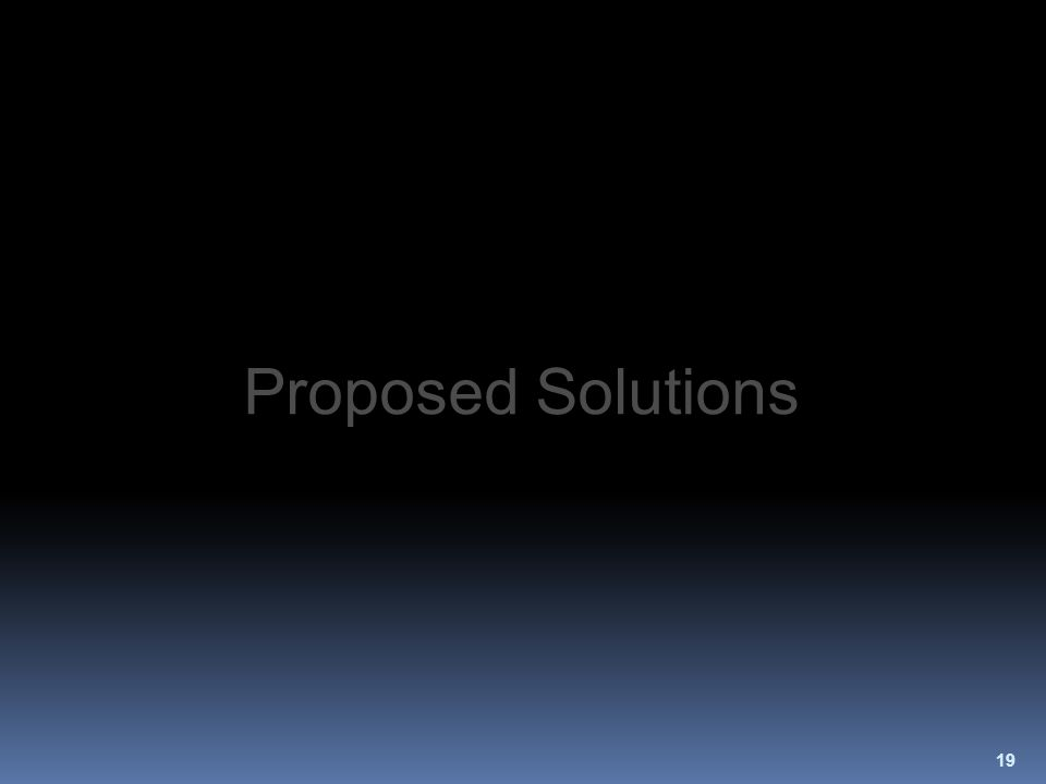 19 Proposed Solutions