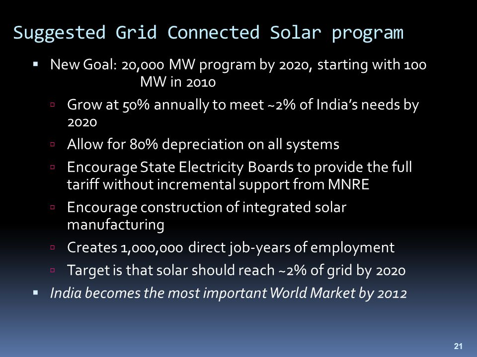 21 Suggested Grid Connected Solar program  New Goal: 20,000 MW program by 2020, starting with 100 MW in 2010  Grow at 50% annually to meet ~2% of India's needs by 2020  Allow for 80% depreciation on all systems  Encourage State Electricity Boards to provide the full tariff without incremental support from MNRE  Encourage construction of integrated solar manufacturing  Creates 1,000,000 direct job-years of employment  Target is that solar should reach ~2% of grid by 2020  India becomes the most important World Market by 2012