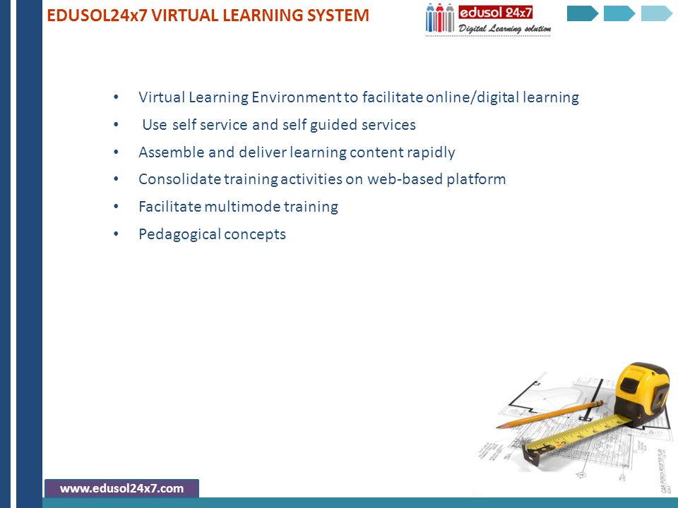 Virtual Learning Environment to facilitate online/digital learning Use self service and self guided services Assemble and deliver learning content rap