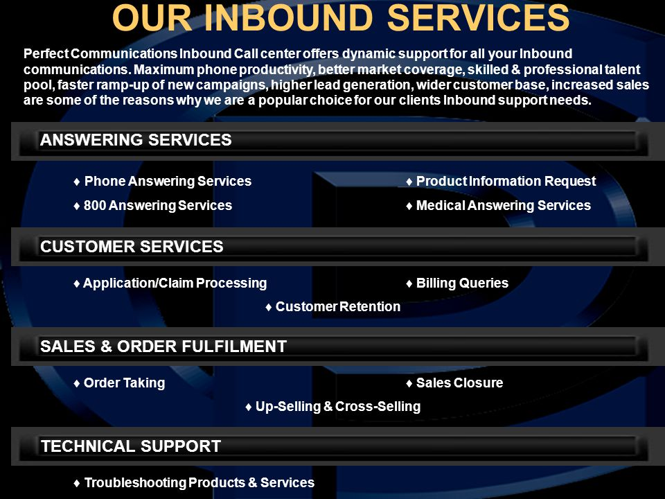 Perfect Communications Inbound Call center offers dynamic support for all your Inbound communications. Maximum phone productivity, better market cover