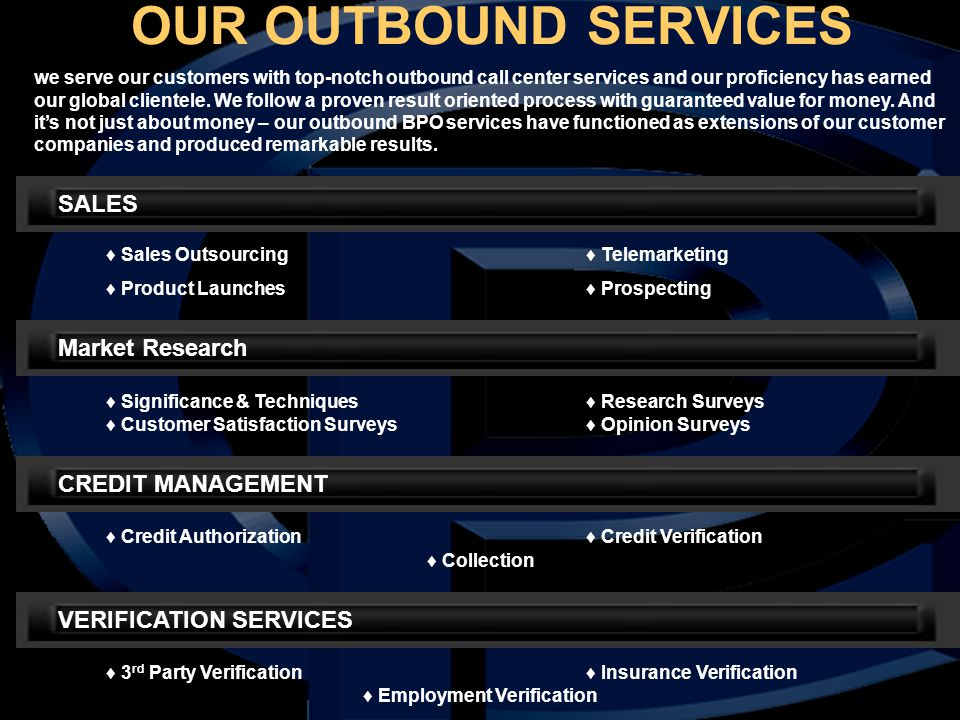 OUR OUTBOUND SERVICES SALES ♦ Sales Outsourcing♦ Telemarketing ♦ Product Launches♦ Prospecting Market Research ♦ Significance & Techniques♦ Research S
