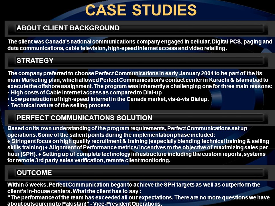 CASE STUDIES ABOUT CLIENT BACKGROUND The client was Canada's national communications company engaged in cellular, Digital PCS, paging and data communi