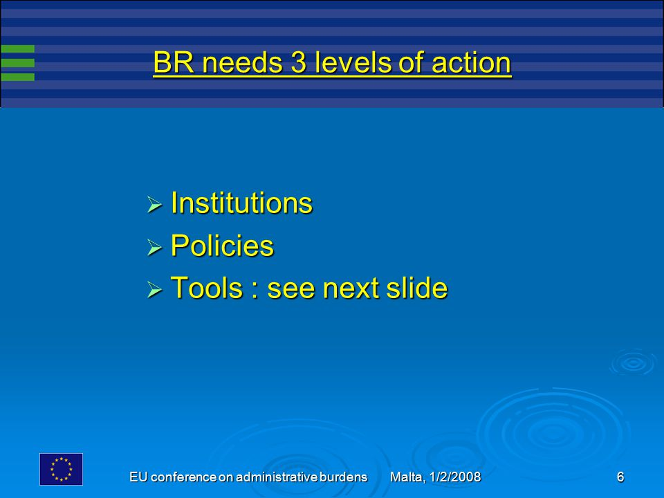 6 BR needs 3 levels of action  Institutions  Policies  Tools : see next slide