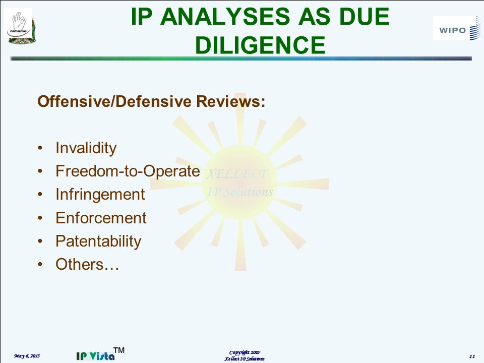 ™ IP ANALYSES AS DUE DILIGENCE May 6, 2015 Copyright 2007 Xellect IP Solutions 11 Offensive/Defensive Reviews: Invalidity Freedom-to-Operate Infringement Enforcement Patentability Others…