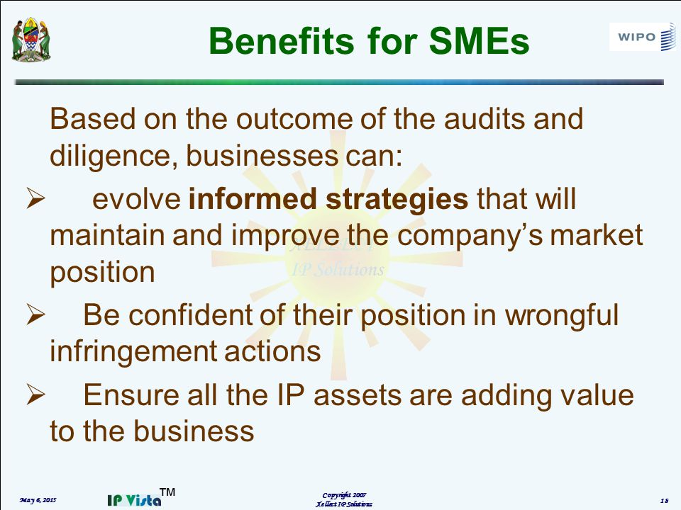 ™ Benefits for SMEs Based on the outcome of the audits and diligence, businesses can:  evolve informed strategies that will maintain and improve the company's market position  Be confident of their position in wrongful infringement actions  Ensure all the IP assets are adding value to the business May 6, 2015 Copyright 2007 Xellect IP Solutions 18