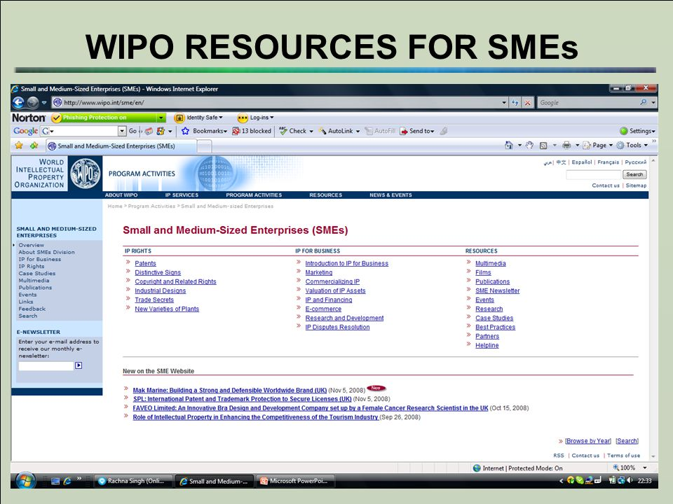WIPO RESOURCES FOR SMEs