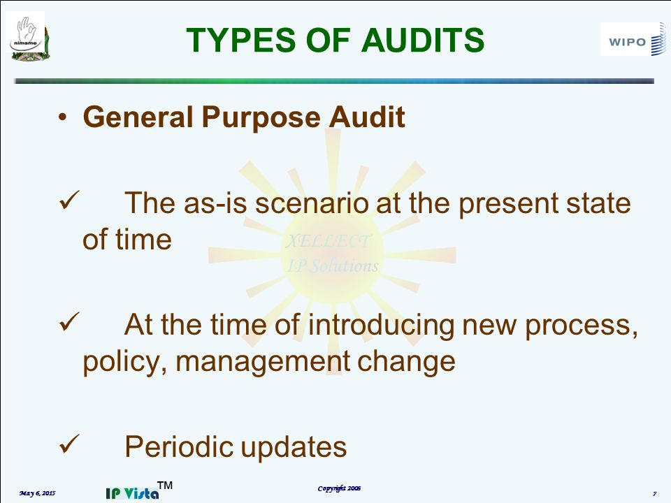 ™ TYPES OF AUDITS May 6, 2015 Copyright 2008 7 General Purpose Audit The as-is scenario at the present state of time At the time of introducing new process, policy, management change Periodic updates