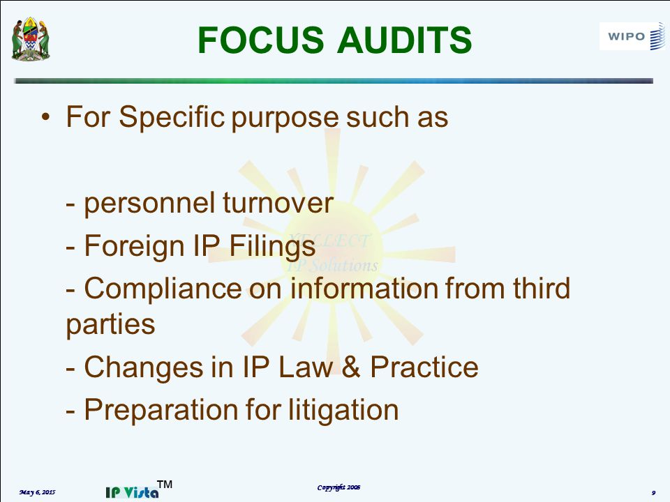 ™ EVENT DRIVEN IP AUDIT May 6, 2015 Copyright 2008 10 Value and Risk of a part or all of company's IP Assets or IP portfolio WHEN : At the time of M&A, buying/selling a business or investment, IP Transfer/Licensing, Launch of a new product Nature and Scope of IP assets is assessed –Ownership –Infringement or freedom to operate
