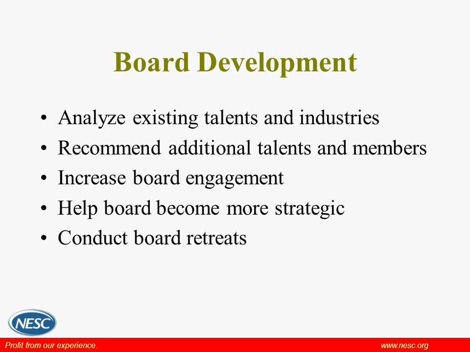 Profit from our experience.www.nesc.org Board Development Analyze existing talents and industries Recommend additional talents and members Increase board engagement Help board become more strategic Conduct board retreats