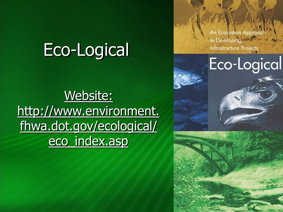 Eco-Logical Website: http://www.environment. fhwa.dot.gov/ecological/ eco_index.asp