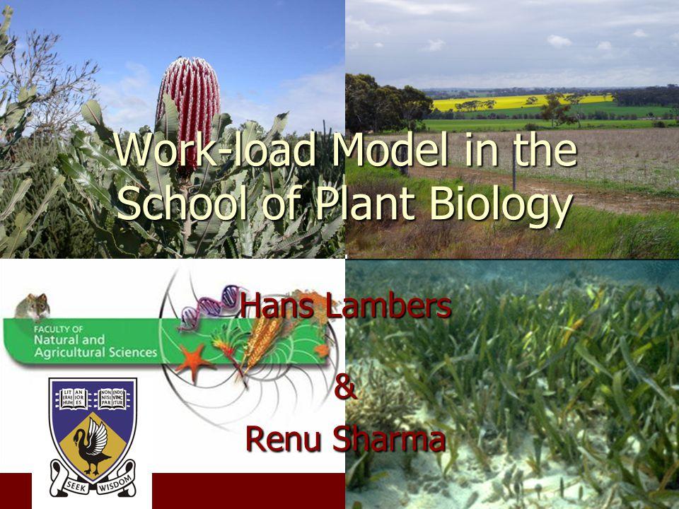 Work-load Model in the School of Plant Biology Hans Lambers & Renu Sharma