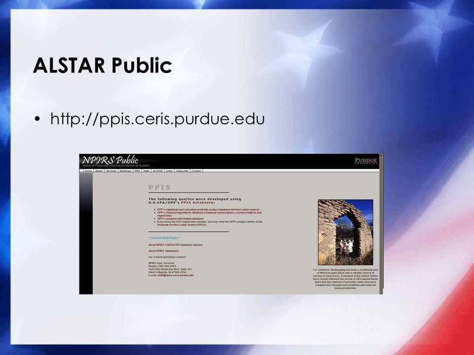 ALSTAR Public http://ppis.ceris.purdue.edu Add a picture here.
