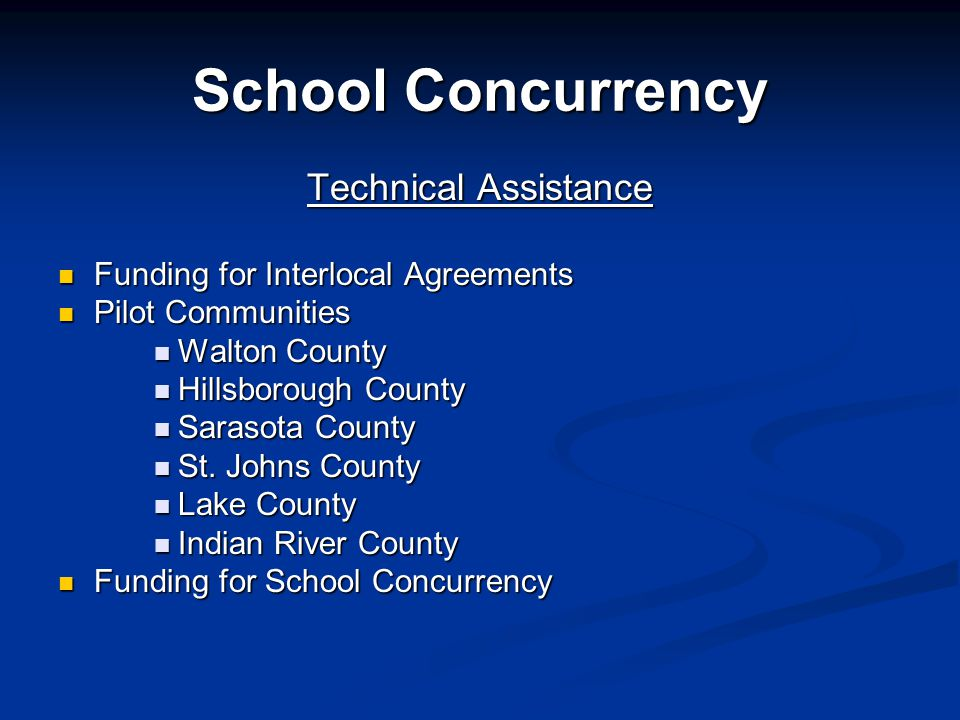 School Concurrency Technical Assistance Funding for Interlocal Agreements Funding for Interlocal Agreements Pilot Communities Pilot Communities Walton County Walton County Hillsborough County Hillsborough County Sarasota County Sarasota County St.
