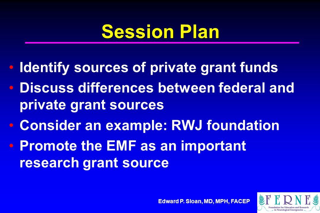Edward P. Sloan, MD, MPH, FACEP Public vs. Private Grants