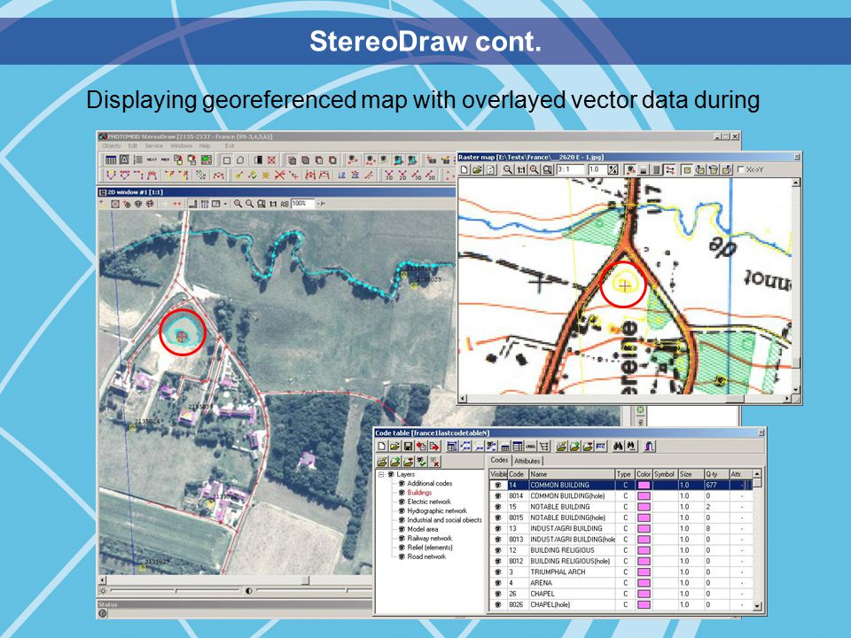 StereoDraw cont. Displaying georeferenced map with overlayed vector data during