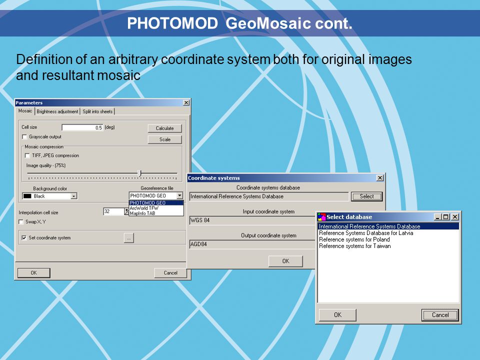 Definition of an arbitrary coordinate system both for original images and resultant mosaic