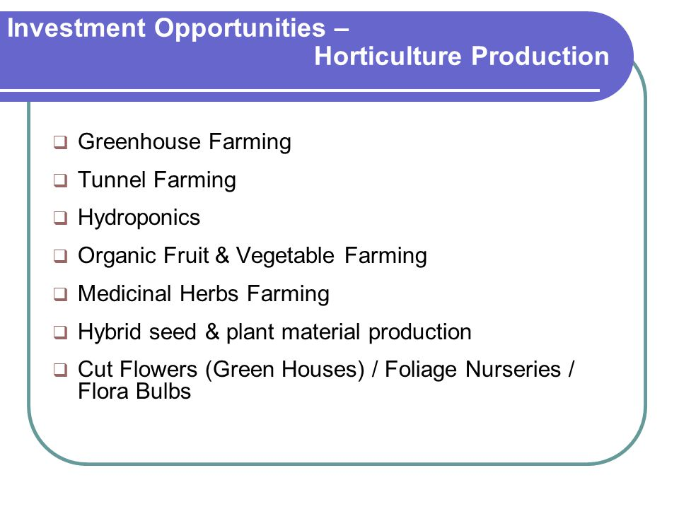 Investment Opportunities – Horticulture Production  Greenhouse Farming  Tunnel Farming  Hydroponics  Organic Fruit & Vegetable Farming  Medicinal Herbs Farming  Hybrid seed & plant material production  Cut Flowers (Green Houses) / Foliage Nurseries / Flora Bulbs