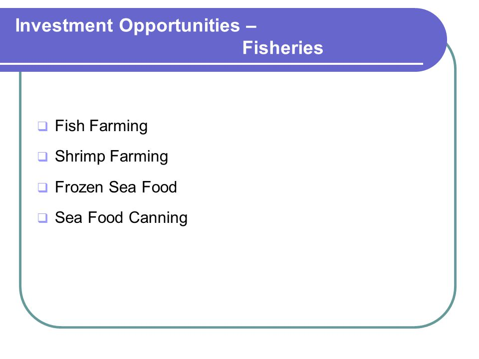 Investment Opportunities – Fisheries  Fish Farming  Shrimp Farming  Frozen Sea Food  Sea Food Canning