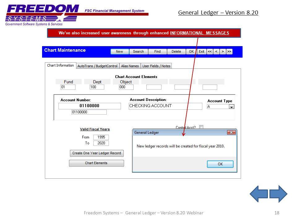 General Ledger – Version 8.20 18 We've also increased user awareness through enhanced INFORMATIONAL MESSAGES Freedom Systems – General Ledger – Version 8.20 Webinar