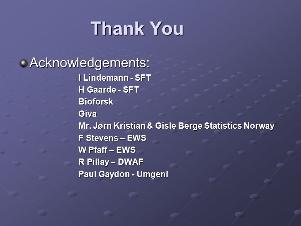 Thank You Acknowledgements: I Lindemann - SFT H Gaarde - SFT BioforskGiva Mr.
