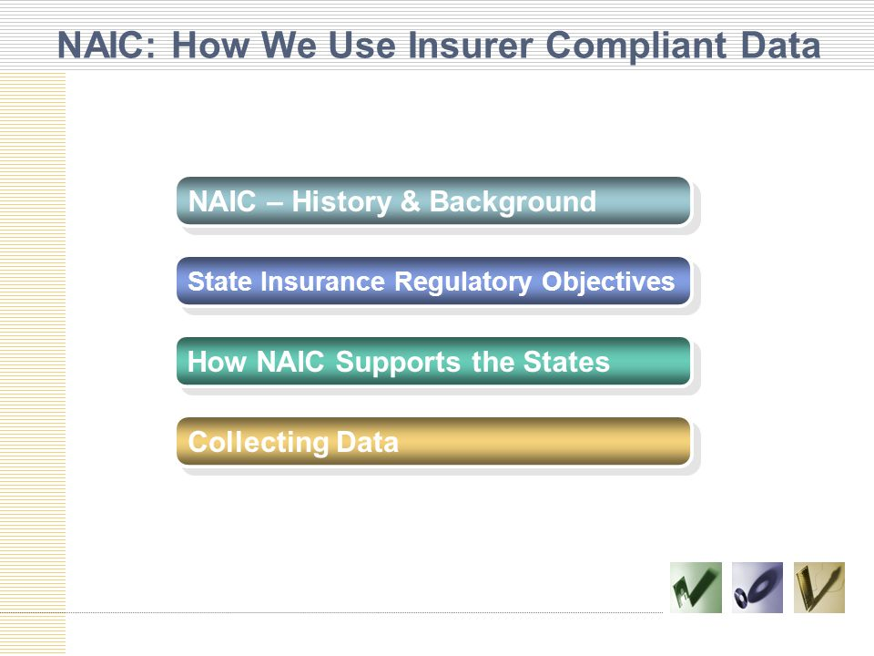 NAIC: How We Use Insurer Compliant Data NAIC – History & Background State Insurance Regulatory Objectives How NAIC Supports the States Collecting Data
