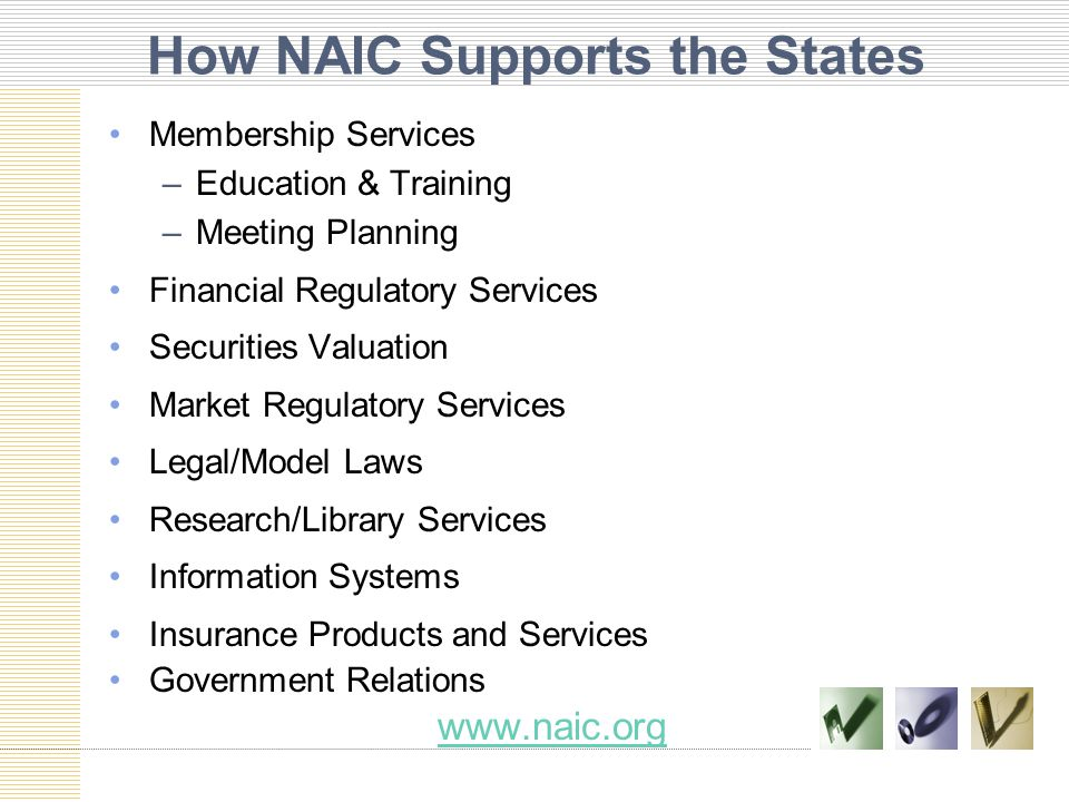 How NAIC Supports the States Membership Services –Education & Training –Meeting Planning Financial Regulatory Services Securities Valuation Market Regulatory Services Legal/Model Laws Research/Library Services Information Systems Insurance Products and Services Government Relations www.naic.org