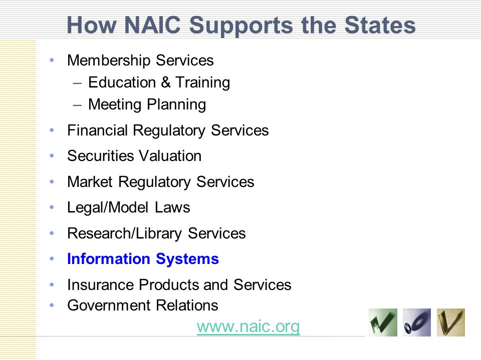 How NAIC Supports the States Membership Services –Education & Training –Meeting Planning Financial Regulatory Services Securities Valuation Market Regulatory Services Legal/Model Laws Research/Library Services Information Systems Insurance Products and Services Government Relations