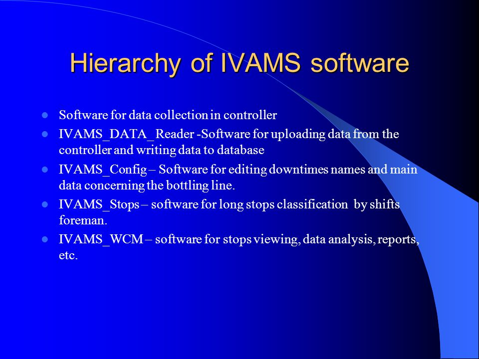 Hierarchy of IVAMS software Software for data collection in controller IVAMS_DATA_ Reader -Software for uploading data from the controller and writing data to database IVAMS_Config – Software for editing downtimes names and main data concerning the bottling line.