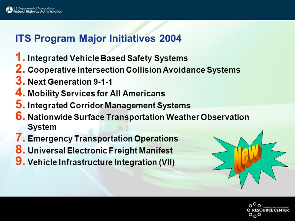 ITS Program Major Initiatives 2004 1. Integrated Vehicle Based Safety Systems 2. Cooperative Intersection Collision Avoidance Systems 3. Next Generati