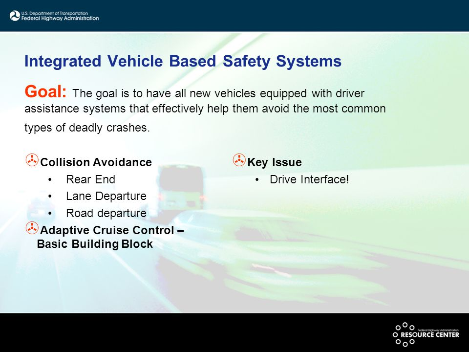 Integrated Vehicle Based Safety Systems > Collision Avoidance Rear End Lane Departure Road departure > Adaptive Cruise Control – Basic Building Block > Key Issue Drive Interface.