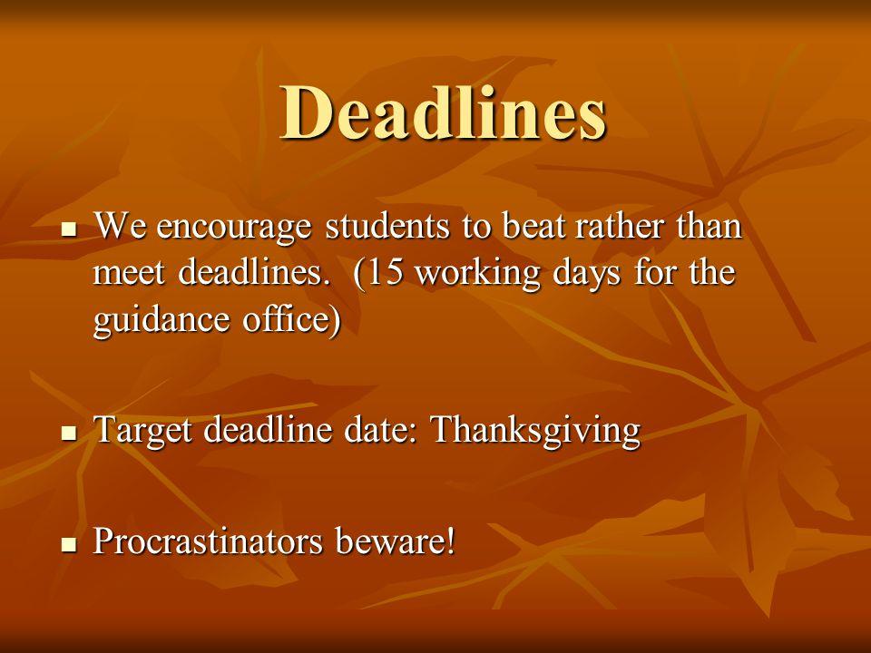 Deadlines We encourage students to beat rather than meet deadlines.