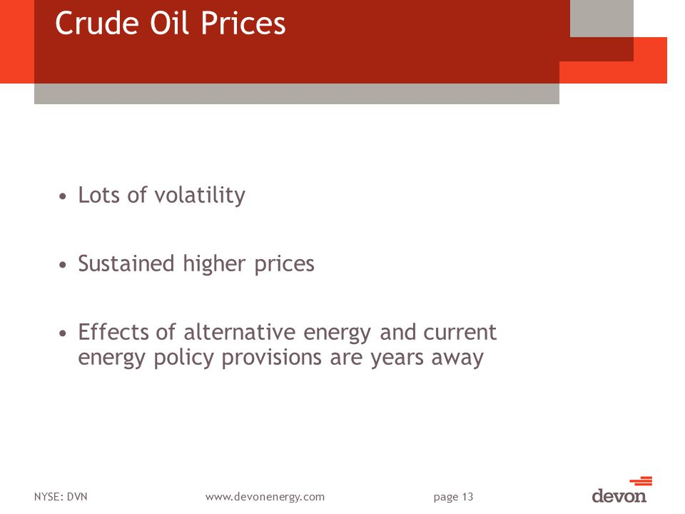 NYSE: DVNwww.devonenergy.compage 13 Crude Oil Prices Lots of volatility Sustained higher prices Effects of alternative energy and current energy polic