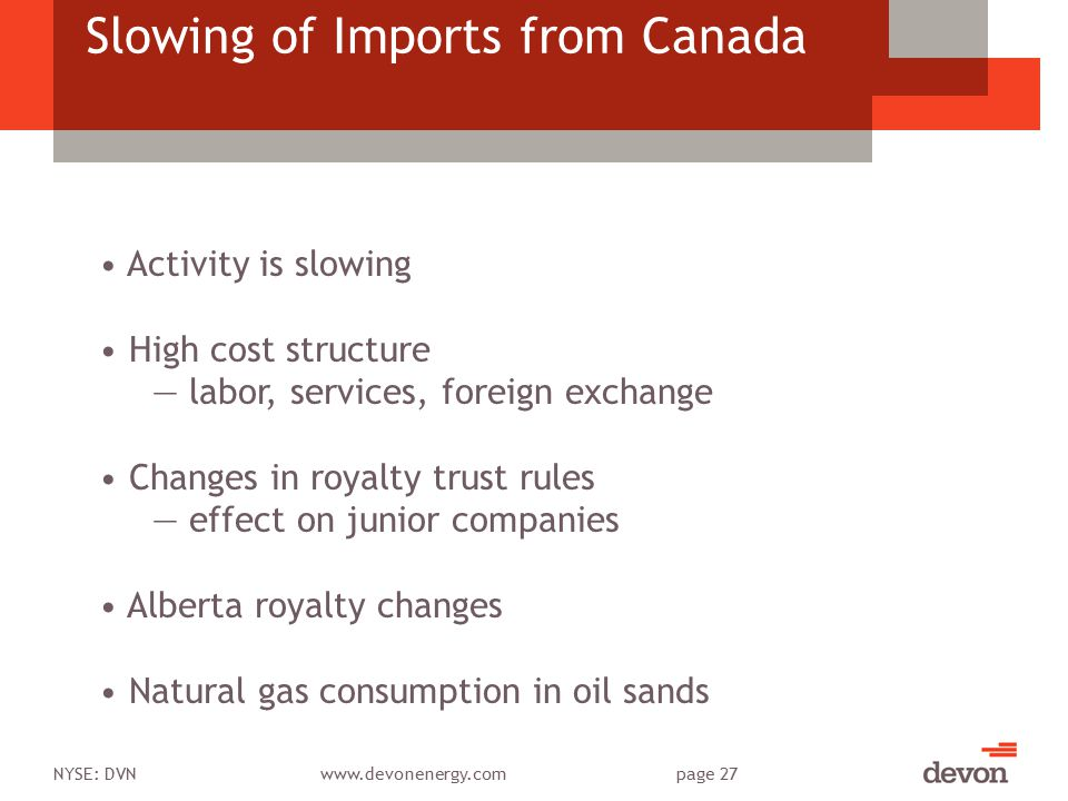 NYSE: DVNwww.devonenergy.compage 27 Slowing of Imports from Canada Activity is slowing High cost structure ― labor, services, foreign exchange Changes in royalty trust rules ― effect on junior companies Alberta royalty changes Natural gas consumption in oil sands