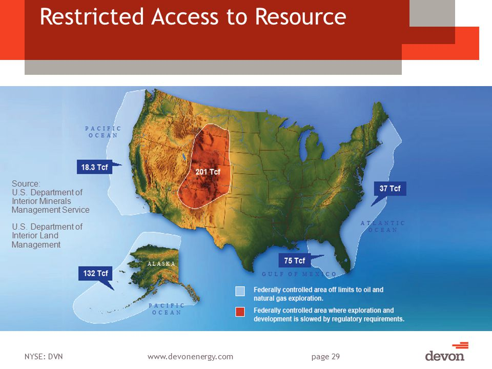 NYSE: DVNwww.devonenergy.compage 29 Restricted Access to Resource Source: U.S.