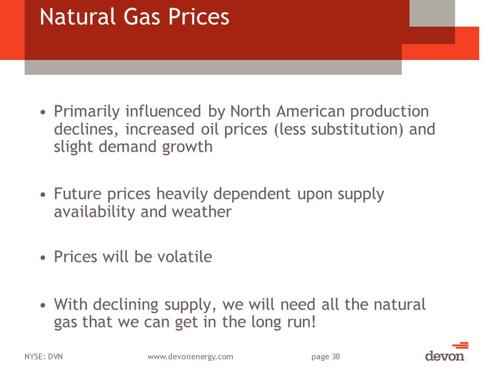 NYSE: DVNwww.devonenergy.compage 30 Natural Gas Prices Primarily influenced by North American production declines, increased oil prices (less substitu