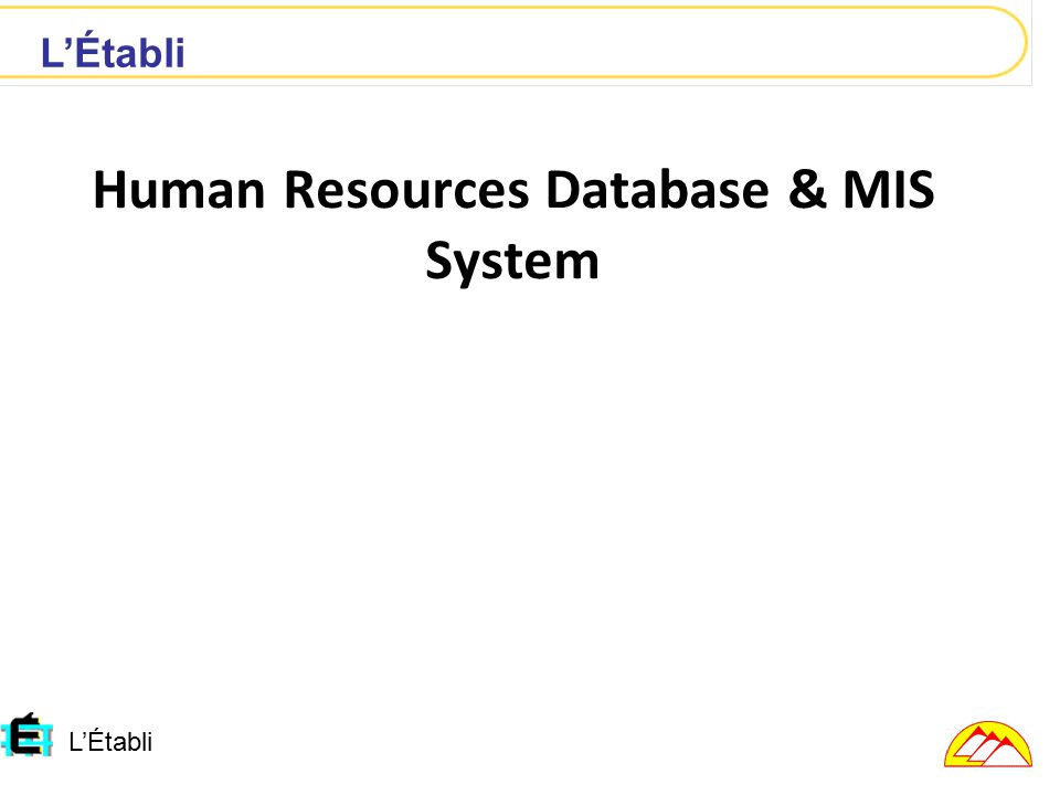 L'Établi Human Resources Database & MIS System L'Établi